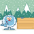 cute little yeti cartoon mascot character pointing to a wooden blank sign stock photo © hittoon