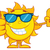 smiling summer sun cartoon mascot character holding a bottle of sun block cream showing thumb up stock photo © hittoon