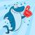 幸せ · 青 · サメ · 漫画のマスコット · 文字 - ストックフォト © hittoon
