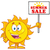 summer sun cartoon mascot character holding a sign with text summer sale stock photo © hittoon