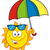 cute sun cartoon mascot character holding a umbrella stock photo © hittoon