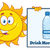 talking sun cartoon mascot character pointing to a sign with text drink more water stock photo © hittoon