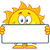 cute sun cartoon mascot character holding a blank sign stock photo © hittoon