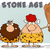 caveman couple cartoon mascot characters with red hair woman holding a club and text stone age stock photo © hittoon