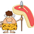 smiling brunette cave woman cartoon mascot character holding a spear with big raw steak stock photo © hittoon