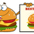 smiling burger cartoon mascot character pointing to a sign banner with text best burger stock photo © hittoon