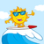 surfer sun cartoon mascot character with sunglasses riding a wave and showing thumb up stock photo © hittoon