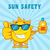 smiling summer sun cartoon mascot character holding a bottle of sun block cream stock photo © hittoon