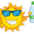 cute sun cartoon mascot character with sunglasses holding a water bottle with recycle sign stock photo © hittoon