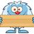 cute little yeti cartoon mascot character holding wooden blank sign stock photo © hittoon