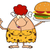 cave red hair woman cartoon mascot character holding a big burger and gesturing ok stock photo © hittoon
