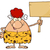 goofy red hair cave woman cartoon mascot character holding a wooden board stock photo © hittoon
