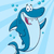 happy blue shark cartoon mascot character waving for greeting under water stock photo © hittoon