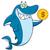 greedy shark cartoon mascot character holding a golden dollar coin stock photo © hittoon