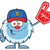 happy little yeti cartoon mascot character with baseball hat wearing a foam finger stock photo © hittoon