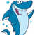Happy Blue Shark Cartoon Mascot Character Waving For Greeting stock photo © hittoon