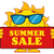 cute sun cartoon mascot character with sunglasses holding a sign with text summer sale stock photo © hittoon