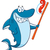 smiling blue shark cartoon mascot character holding a toothbrush with paste stock photo © hittoon
