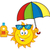 cute sun cartoon mascot character holding a umbrella and bottle of sun block cream with text stock photo © hittoon