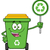 cute green recycle bin cartoon mascot character holding a recycle sign stock photo © hittoon