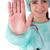 jonge · verpleegkundige · stopteken · selectieve · aandacht · hand - stockfoto © hsfelix