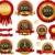 vector set of 100 guarantee golden labels stock photo © hugolacasse