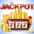 slot machine with lucky seven and golden coins and red glossy jackpot text with crown on blue stock photo © iaroslava