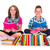 dwa · uśmiechnięty · uczeń · posiedzenia · biały · książek - zdjęcia stock © icefront