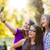 happy teen girls taking selfie in park stock photo © icefront