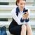 nő · küldés · szöveg · okostelefon · okos · mobil - stock fotó © ichiosea