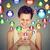boldog · férfi · sms · chat · okostelefon · közösségi · média · alkalmazás - stock fotó © ichiosea
