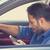 bestuurder · telefoon · vergadering · auto · glimlachend · knap - stockfoto © ichiosea
