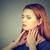 garganta · inflamada · frustrado · mulher · dor · mãos · cara - foto stock © ichiosea