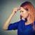 szomorú · fiatal · nő · aggódó · hangsúlyos · arc · fejfájás - stock fotó © ichiosea