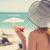 mulher · jovem · praia · seis · guarda-sol · mulher · céu - foto stock © ichiosea