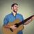 yakışıklı · adam · oynama · gitar · gülümseme · çift · güzellik - stok fotoğraf © ichiosea