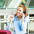 mujer · de · negocios · hablar · teléfono · primer · plano · retrato · sonriendo - foto stock © ichiosea