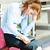 jonge · nerveus · vrouw · vergadering · stoel · formeel - stockfoto © ichiosea
