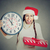 happy woman wearing red santa claus hat holding clock gift box stock photo © ichiosea