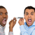 two men screaming on opposite ends of phone stock photo © ichiosea