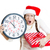 young christmas woman holding clock and a gift box running out of time last minute shopping stock photo © ichiosea