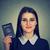 魅力的な · 小さな · 幸せ · 女性 · 米国 · パスポート - ストックフォト © ichiosea