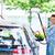 sorridente · mulher · jovem · lavagem · limpeza · compacto · carro - foto stock © ichiosea