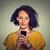 zaklatott · nő · kellemetlen · párbeszéd · telefon · közelkép - stock fotó © ichiosea