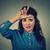 genç · kadın · parmak · yanlış · gülümseme · mavi - stok fotoğraf © ichiosea