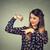jonge · gelukkig · vrouw · spieren · tonen · sterkte - stockfoto © ichiosea