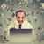 man using laptop building online business making money dollar bills cash falling down money rain stock photo © ichiosea