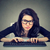 stréber · hacker · nő · szemüveg · számítógép · billentyűzet · számítógép - stock fotó © ichiosea