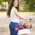 genç · gülümseyen · kadın · bisiklet · sepet · tok · çiçek - stok fotoğraf © iko