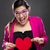 grappig · vrouw · hart · enthousiast - stockfoto © iko